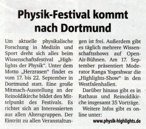 """Beitrag aus den RuhrNachrichten vom 23.3.2018 zu den """"Highlights der Physik 2018"""" in Dortmund"""
