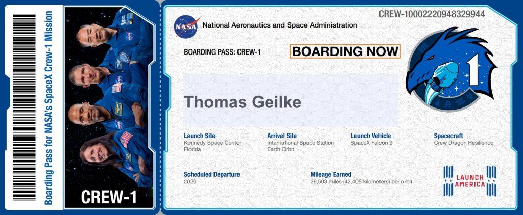 fun boarding-pass für die crew-1 Mission von NASA und SpaceX zur ISS